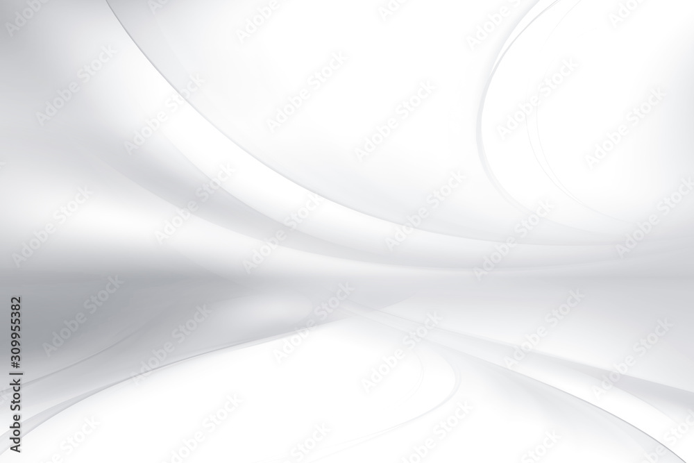 White and gray perspective waves modern design. Blurred pattern effect background. Futuristic space backdrop.