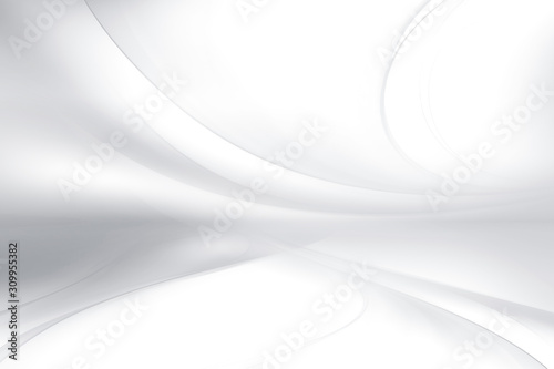 White and gray perspective waves modern design. Blurred pattern effect background. Futuristic space backdrop. - 309955382