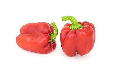 Red peppers on a white background