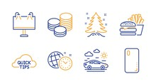 Road Banner, Burger And Christmas Tree Line Icons Set. Time Management, Tips And Quick Tips Signs. Car Travel, Smartphone Cover Symbols. Advertisement, Cheeseburger. Business Set. Vector