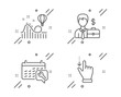 Roller coaster, Spanner and Businessman case line icons set. Touchscreen gesture sign. Attraction park, Repair service, Human resources. Slide down. Line roller coaster outline icon. Vector