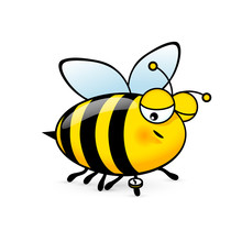 Illustration Of A Friendly Cute Sleepy Bee Looks At The Clock On White Background
