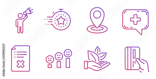 Photo Reject file, Brand ambassador and Medical chat line icons set