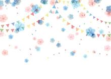 旗と花 水彩イラスト