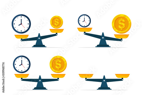 Photo Vector watches and money are on scales