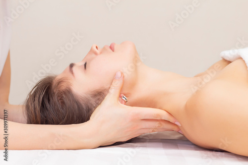 massage and stretching of the cervical muscles Wallpaper Mural