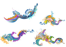 Abstract Colorful Splash Of A Wave. Element For Design  Cards, Invitations, Gift Cards, Flyers And Brochures.