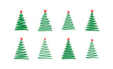 Christmas Tree. Line Draw Scri...