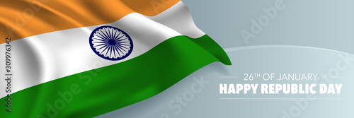 Obraz India republic day vector banner, greeting card. Indian wavy flag in 26th of January national patriotic holiday - fototapety do salonu