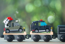 Miniature Toy Train Carrying Miniature Toy Military Equipment Vehicles Weapons