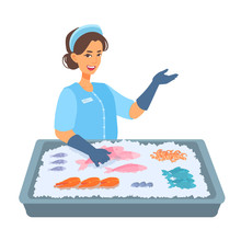 Woman Fish Seller Is Behind The Counter With Seafood On The Ice. Girl Worker Holding A Fish, Shows The Palm Gesture At Something, Smiles. Vector Cartoon Illustration Isolated On White Background.