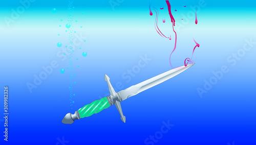 Fototapeta sinking dagger or bloodied dirk, vector graphic  obraz na płótnie
