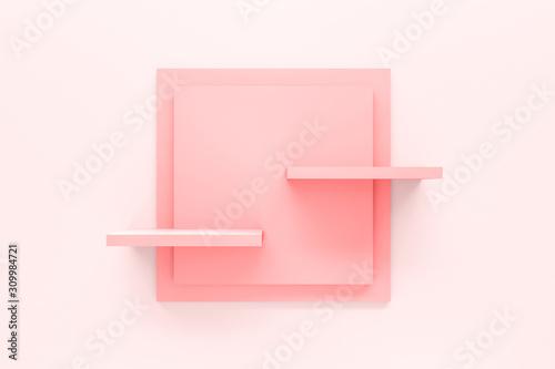 Obraz na płótnie Modern pastel pink shelf display or frame with minimal style on white wall background