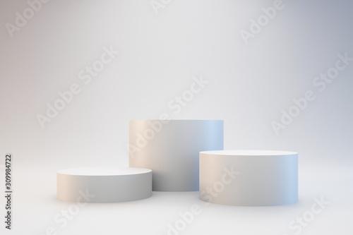 Modern podium or pedestal display with platform concept on white background Canvas Print