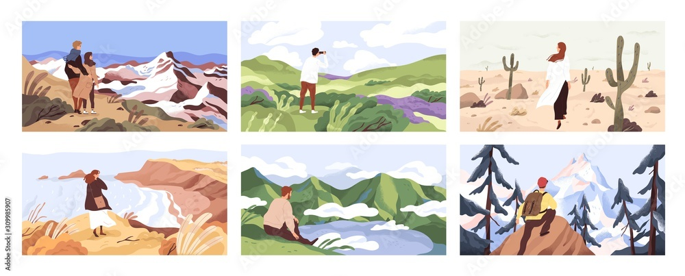 Fototapeta Travelers enjoying scenic view flat vector illustrations set. Young people on adventure cartoon character. Searching for goal, opening new horizons, outdoor rest concept. Tourists contemplating nature
