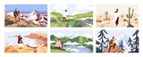Fototapeta Natura - Travelers enjoying scenic view flat vector illustrations set. Young people on adventure cartoon character. Searching for goal, opening new horizons, outdoor rest concept. Tourists contemplating nature