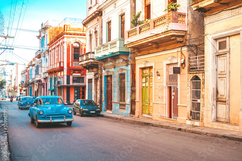 American classic cars on the street in old Havana, Cuba Canvas Print