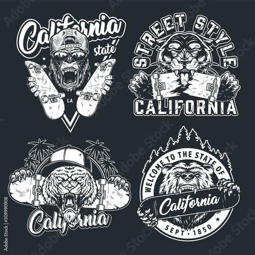 Vintage skateboarding emblems