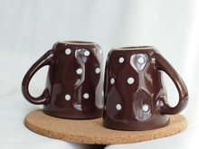 White Dotted - Brown Coffee Cu...