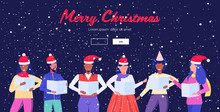 Mix Race People Holding Sheet Books Giving Performance Merry Christmas Happy New Year Holidays Celebration Concept Men Women Standing Together Portrait Horizontal Greeting Card Vector Illustration