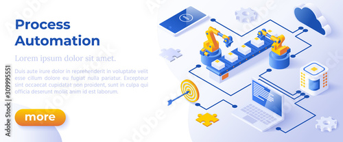 Photo Process Automation - Isometric Concept in Trendy Colors