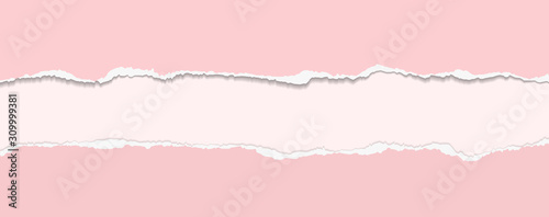 Fototapeta Torn, ripped pieces of horizontal pink paper with soft shadow, background for text. Vector illustration obraz