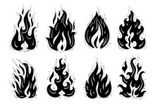 Fire Flames Icons Vector Set. ...