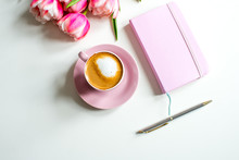 Pink Notebook And Cup Of Cappu...