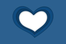 Blue Hearts With A Shadow With A White Transparent Background Instead Of A Central Element. Vector Illustration For Valentine's Day In Paper Cut Style