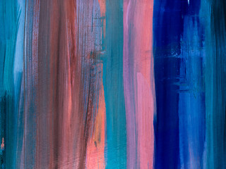 Abstract vertical oil painting texture. Modern abstarct art. Trendy background 2020. Fragment of artwork on canvas . Spots of oil paint. Brushstrokes of paint. Deep blue, pink, classic blue.