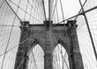 Close up of Brooklyn Bridge in New York City in black and white