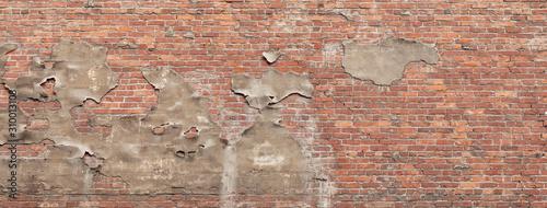 A panorama of weathered exposed bricks with pealing old plaster Tapéta, Fotótapéta
