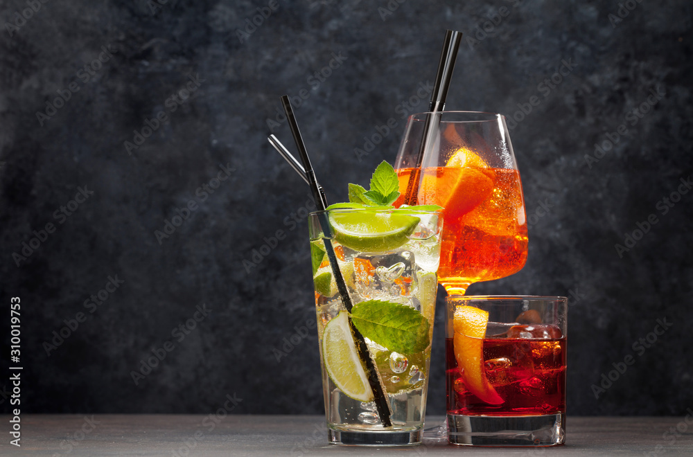Fototapeta Three classic cocktail glasses