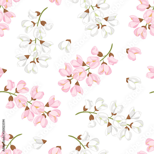 Photo Acacia flowers seamless pattern
