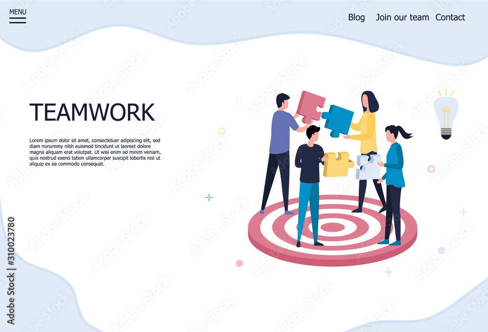 Fototapeta A group of 4 young people holds puzzle blocks in their hands. The concept of teamwork, solving problems, achieving goals in business, startup, success. Flat vector illustration on white background.