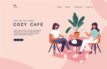 Landing Page Template For Websites With Pair Of Female Friends Sitting At The Table, Drinking Tea Or Coffee And Talking.