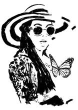 Painting Fashion Woman With Bi...