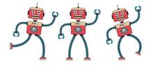 Funny Retro Robot Dancing. Ste...