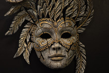 Carnival Mask On Black Backgro...