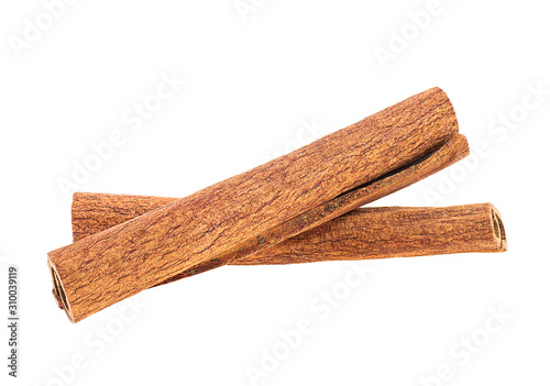 Two cinnamon sticks isolated on white background, front view.