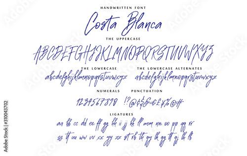 Handwritten script font vector alphabet Costa Blanca set Wallpaper Mural