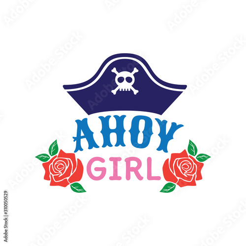 ahoy hey pirate hat girl family baby and kid funny pun vector graphic design for Canvas Print