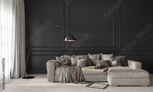 Fototapeta Gray living room with a beige cozy sofa