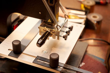 Working Process Of Making Leather Wallet In The Leather Workshop, Close-up