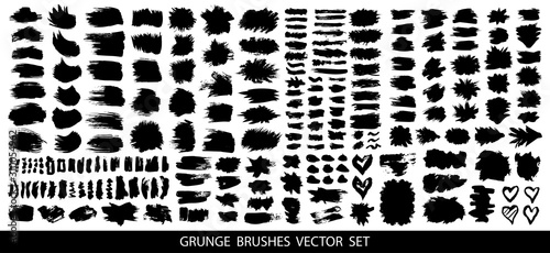 Fototapety, obrazy: Set of black paint, ink brush strokes, brushes, lines. Dirty artistic design elements, boxes, frames for text. Vector illustration.
