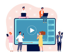 People Watching Video. Digital Network Television Live Stream Entertainment Media Vector Video Player Concept Picture. Movie Internet Media, Video Stream Illustration