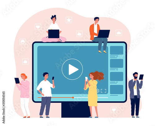 Obraz People watching video. Digital network television live stream entertainment media vector video player concept picture. Movie internet media, video stream illustration - fototapety do salonu