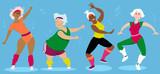 Women-only senior aerobic group workout, EPS 8 vector illustration