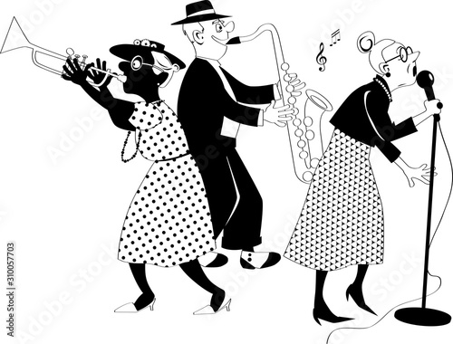 Senior citizens jazz band performing on stage, EPS 8 black solid vector silhouet Wallpaper Mural