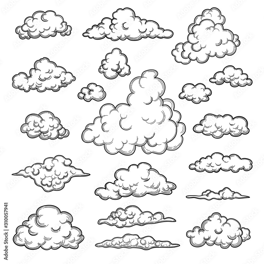 Fototapeta Hand drawn clouds. Weather graphic symbols decorative sky vector nature objects vector cloud collection. Illustration cloud weather, cloudy forecast